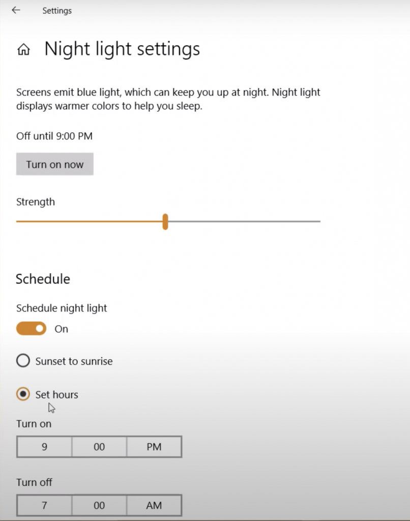 Set individual hours for Night light