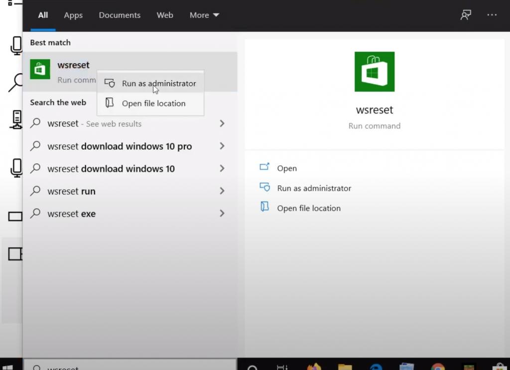 WSReset Windows Search
