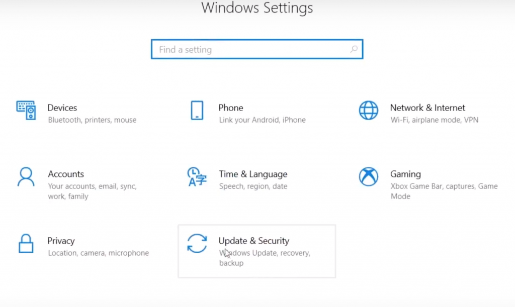 Update and Security Windows