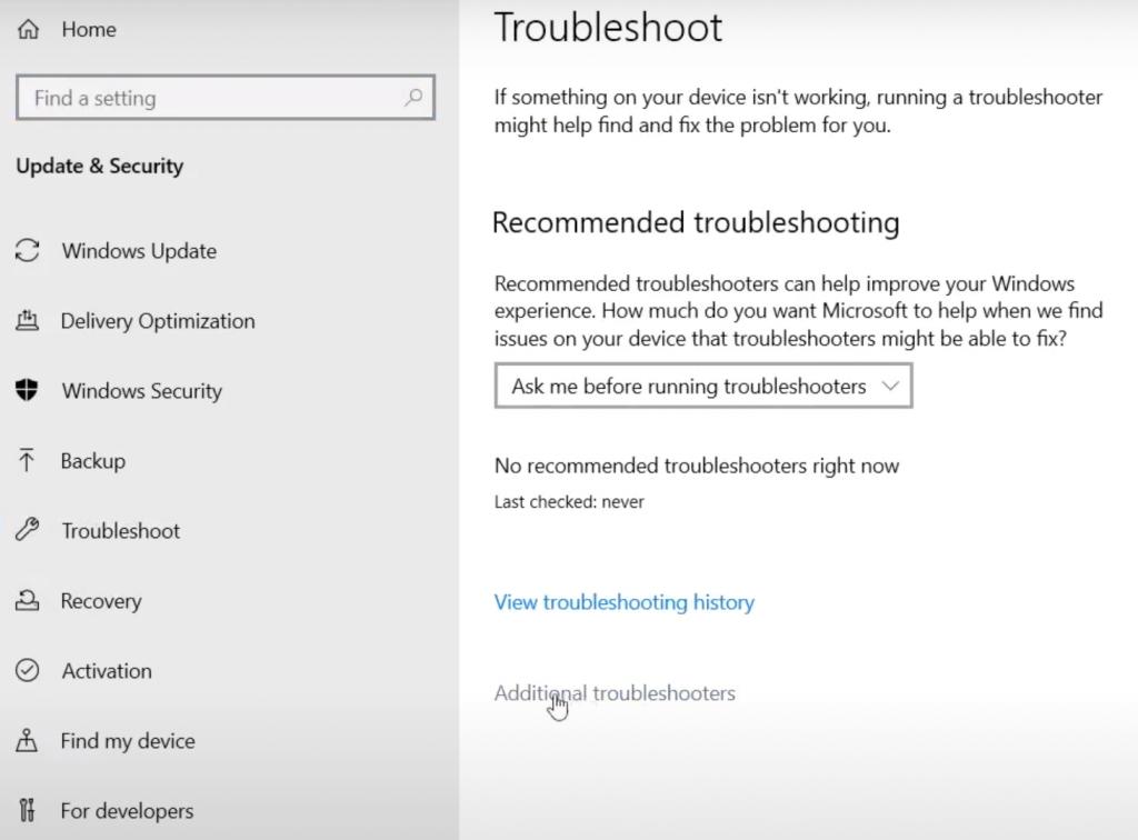 Additional Troubleshooter Windows