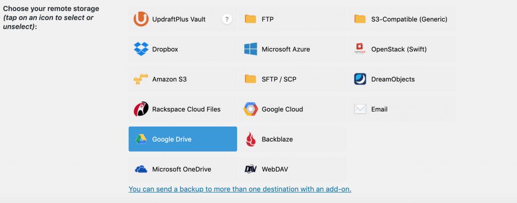 Updraft Backup provider options