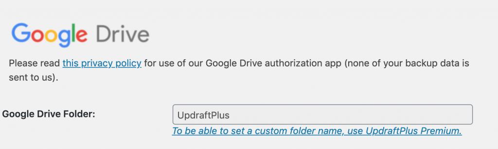 Google drive backup folder name