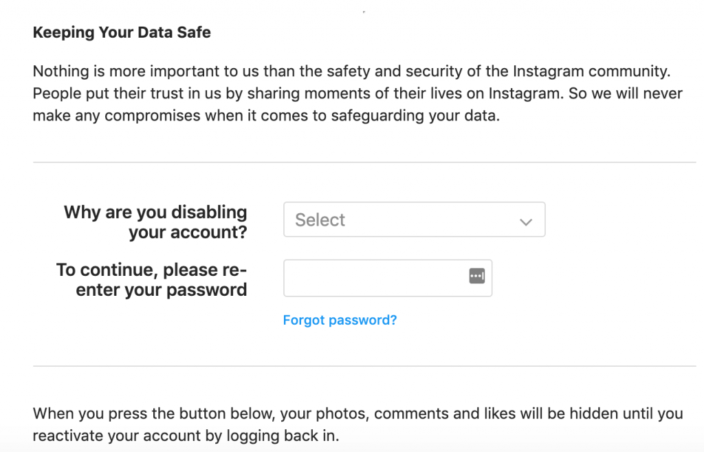 Select reason to deactivate Instagram account
