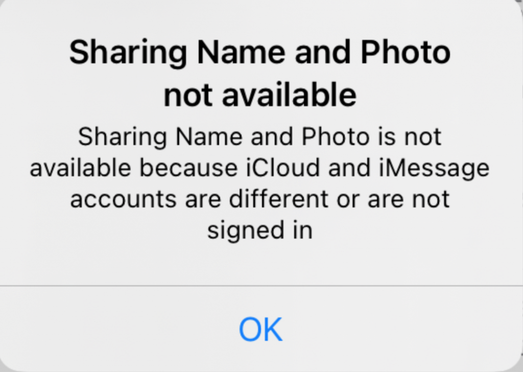 Sharing name and photo not available iPhone