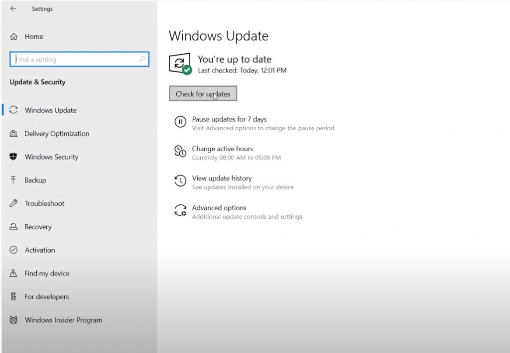 Update Windows 10 OS