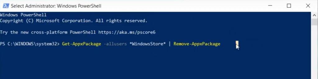 Uninstalling Microsoft Store Using Powershell