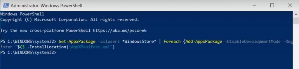 Reinstalling Microsoft Store Using Powershell