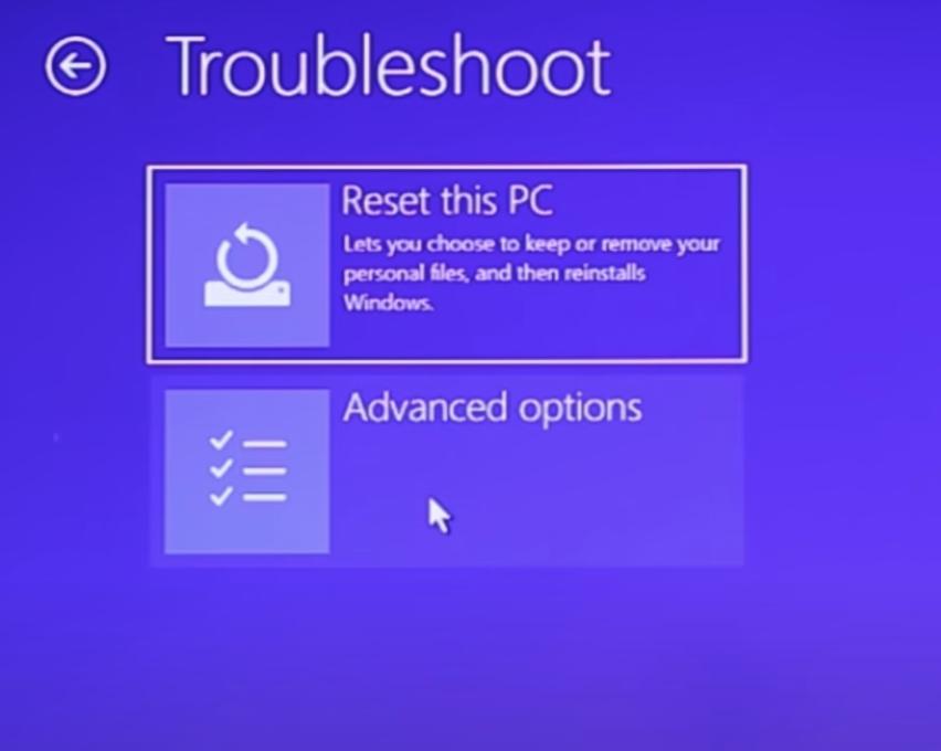 Advanced Options Troubleshoot