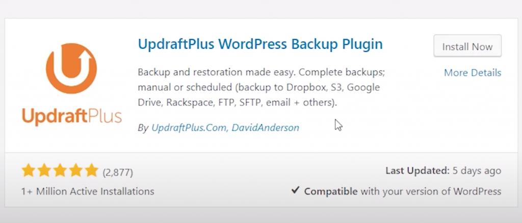 Install Updraft Plugin to backup WordPress site