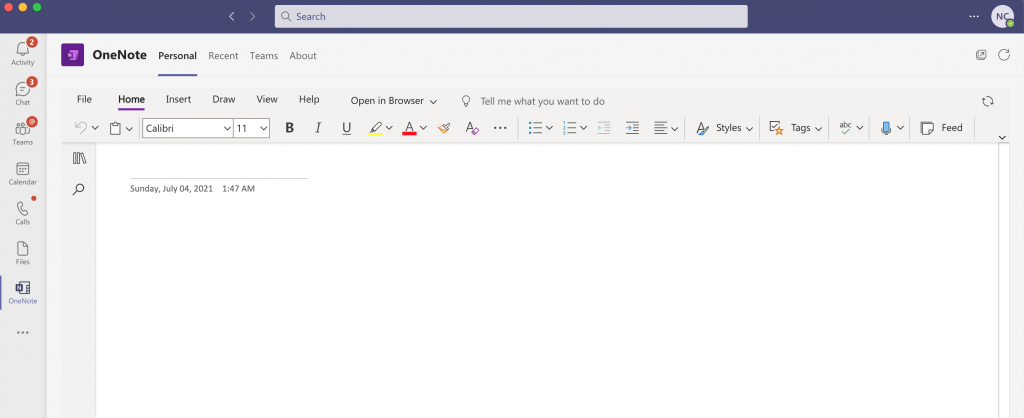 Microsoft OneNote Sign Out - Top Left Corner